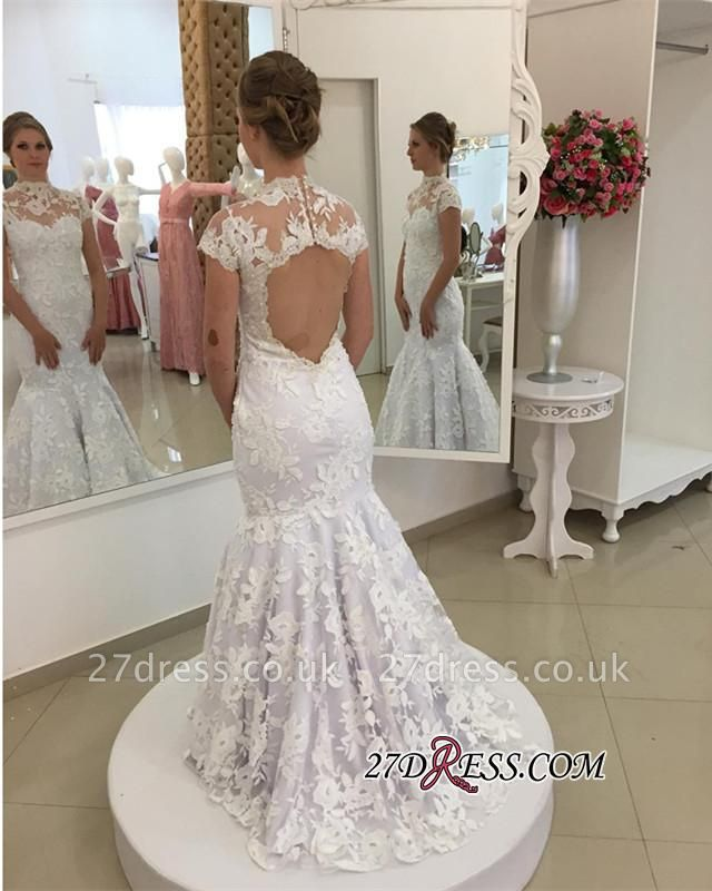 Pearls High-Neck Zipper White Newest Appliques Sexy Mermaid Lace Wedding Dress