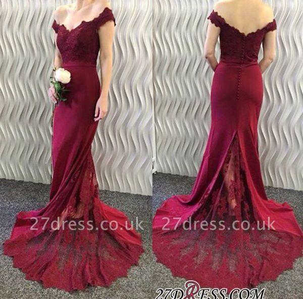 Lace-Appliques Off-the-Shoulder Burgundy Mermaid Long Prom Dress UKes UK BA3997