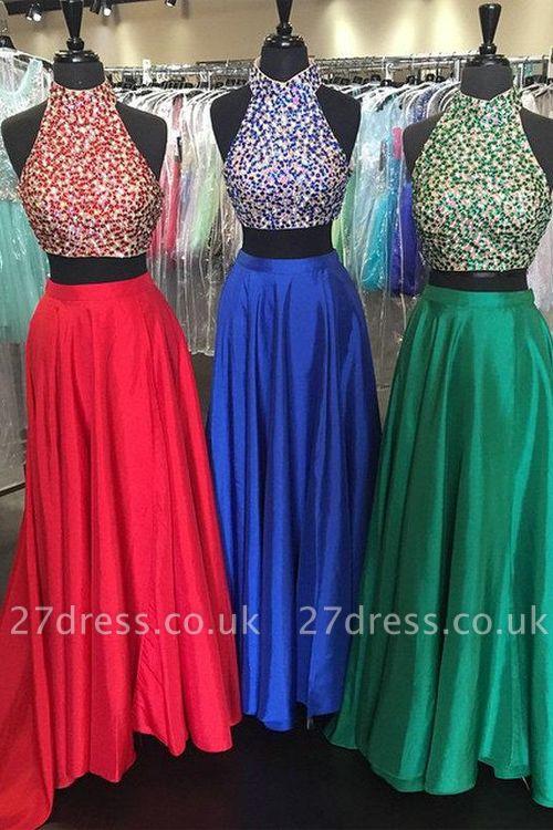 Two Pieces Luxury Beadings Prom Dress UKes UK High Neck Long
