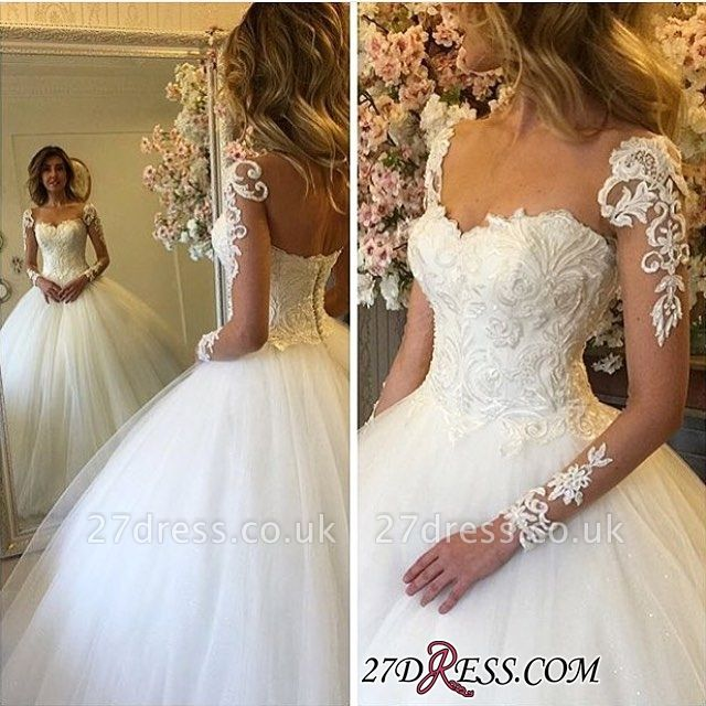 Lace-up Ball-Gown Glamorous Long-Sleeves Lace Wedding Dress