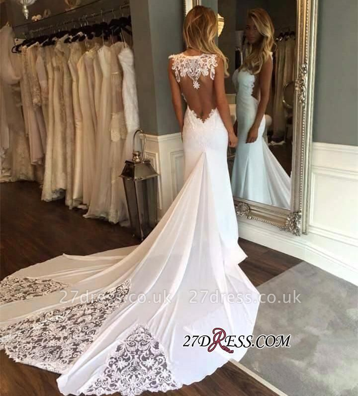 Sleeveless Chapel-Train Appliques Newest Sexy Mermaid Wedding Dress