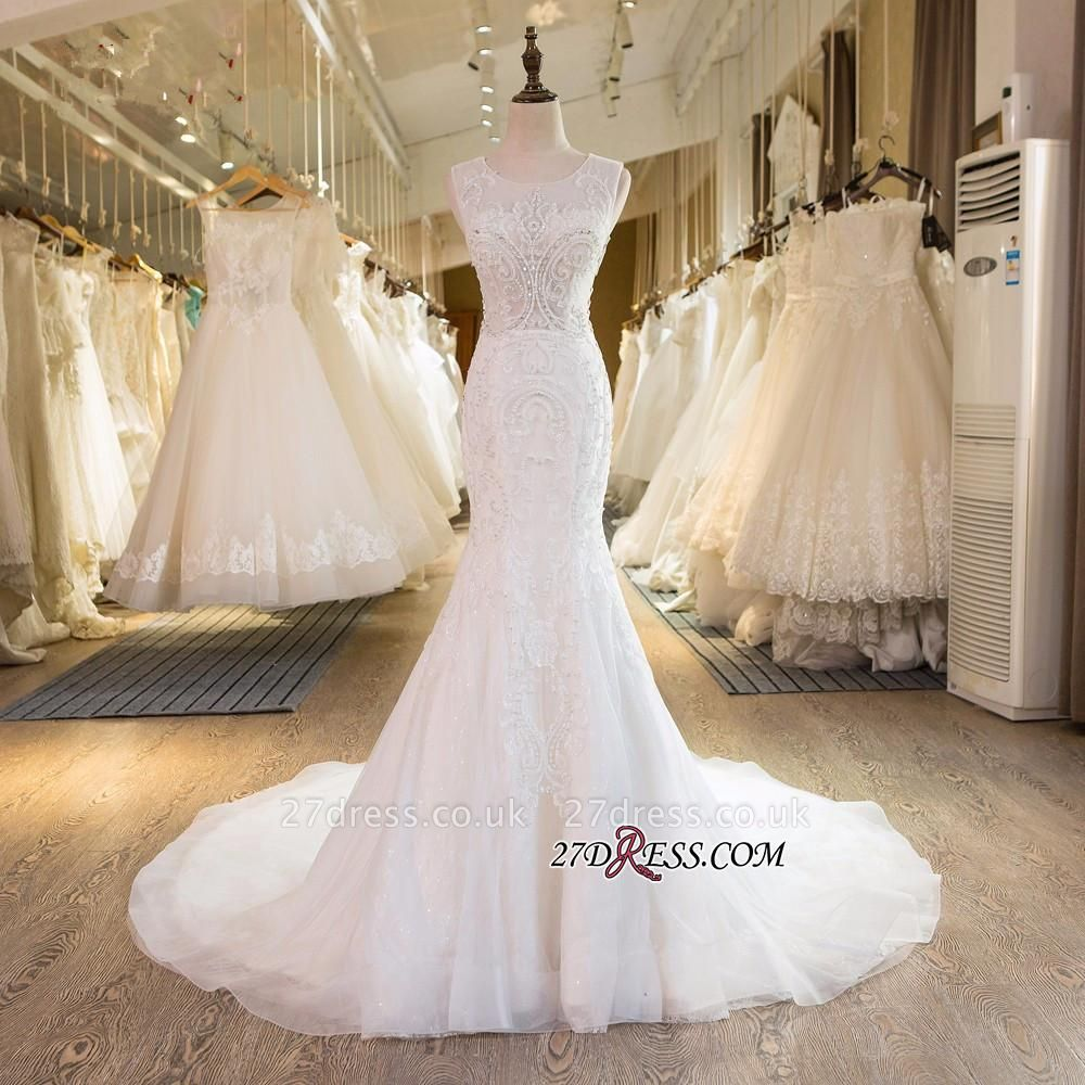 Sleeveless Newest Tulle Beadss Appliques Sexy Mermaid Wedding Dress