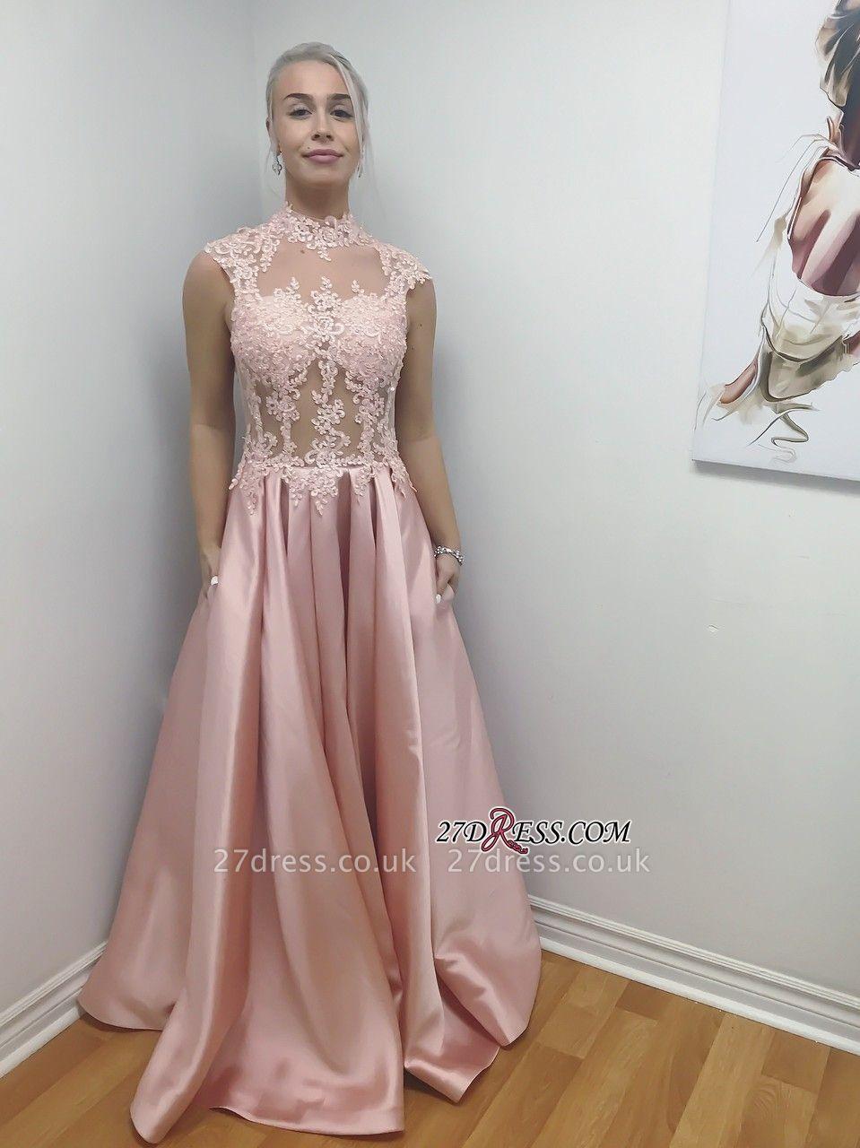 Long Illusion Chic Lace-Applique Bodice High-Neck A-Line Prom Dress UKes UK