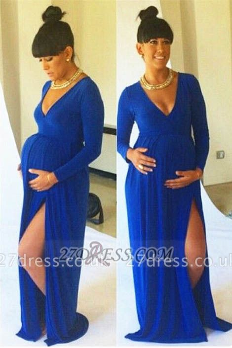 Sexy Long Sleeve V-Neck Maternity Prom Dress UK With Different Styles