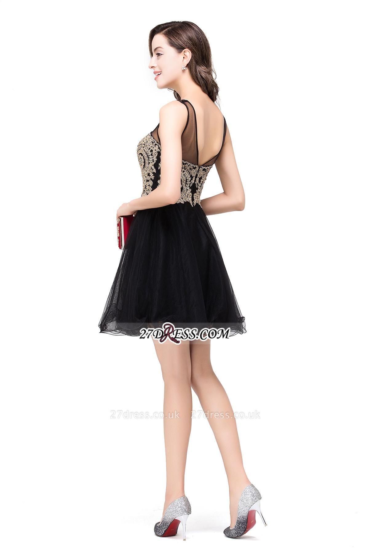 Sleeveless Appliques Elegant Black Tulle Homecoming Dress UK