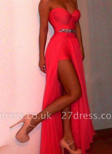 Luxury Red Long Prom Gowns Sweethear Slit Chiffon Evening Dress UKes UK With Beadings