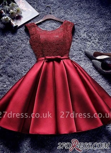 Bowknot-Sash Red Lace-Up-Back A-line Homecoming Dress UKes UK BA7429