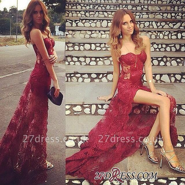 Long Split Stunning Sweetheart Burgundy Full-Lace Prom Dress UK
