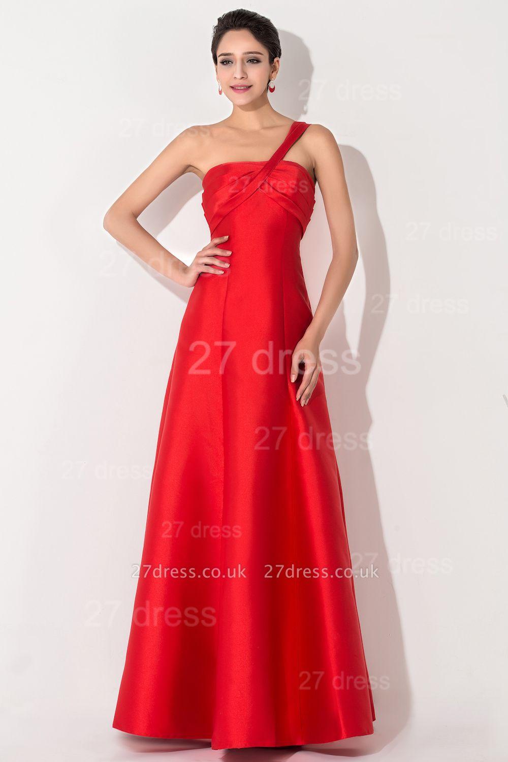 Newest A-line Red Sleeveless Evening Dress UK Floor-length Lace-up