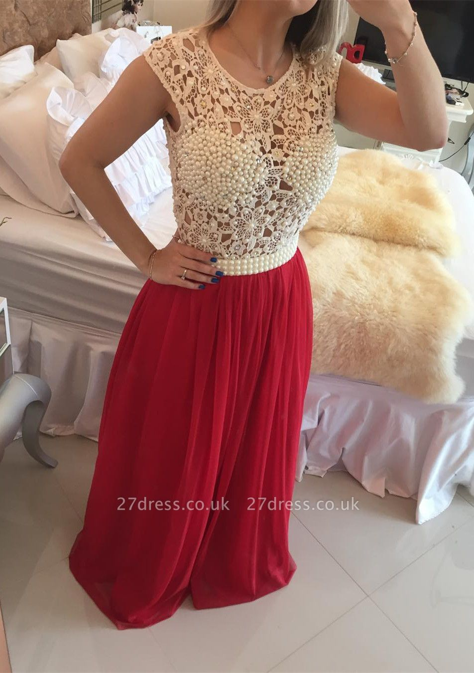 Luxury Red Pearls Lace Prom Dress UKes UK Long Chiffon BT0