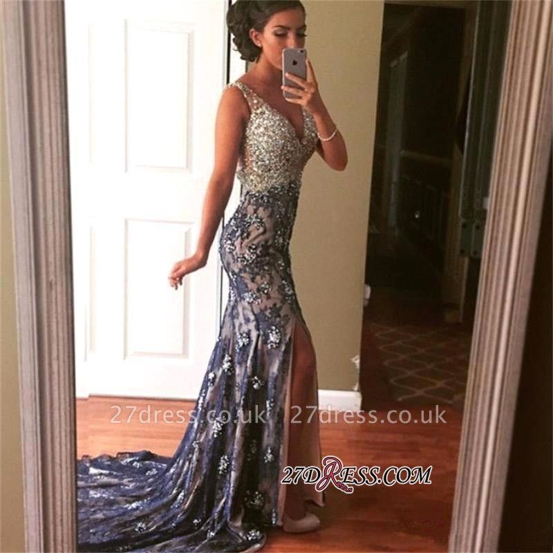 Straps Modest Crystals Front-Split Mermaid Sleeveless Evening Gown