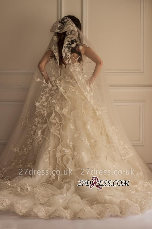 Appliques Tulle Pretty Off-the-shoulder Lace Wedding Dress