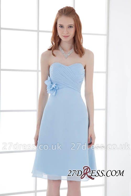 Chiffon Short Zipper-Back Luxury Sky-Blue Sweetheart Bridesmaid Dress UK