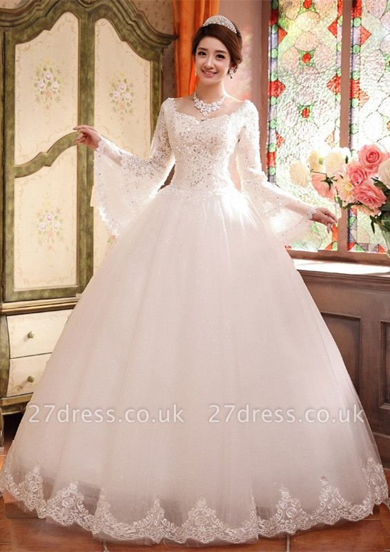 Elegant Long Sleeve Sequins Lace Wedding Dresses UK Ball Gown Tulle