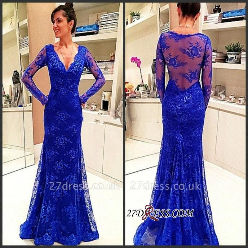 Lace Sexy Long-Sleeve Rpyal-Blue Evening Dress UK
