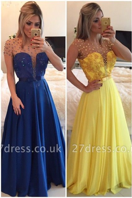 Sexy A-line Illusion Cap Sleeve Evening Dress UK Beadings Appliques Foor-length Chiffon Prom Gown