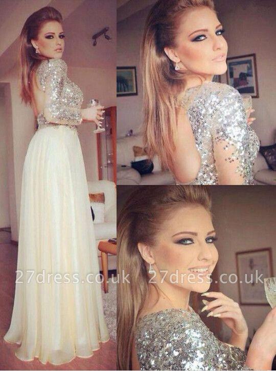 Gorgeous Long Sleeve Sequins Prom Dress UKes UK Long Chiffon Open Back