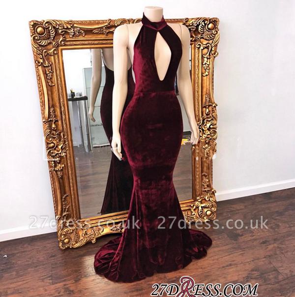 Zipper Backless Mermaid High-Neck Stunning Long Evening Dress UK