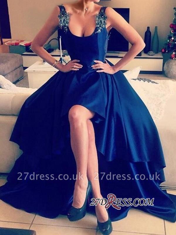 Elegant Blue Hi-Lo Open-Back Appliques Straps Prom Dress UKes UK