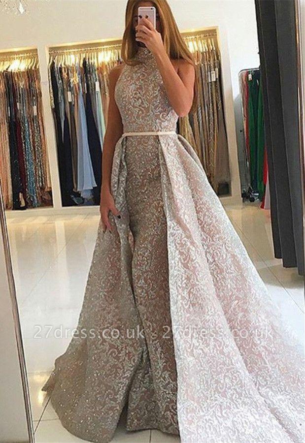 Luxury High-Neck Evening Dress UK | Sequins Party Dress UK On Sale