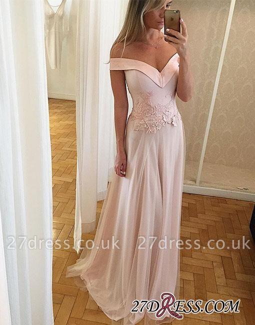 Off-the-shoulder Long Lace Light-pink Unique Formal Dress UK BA9173
