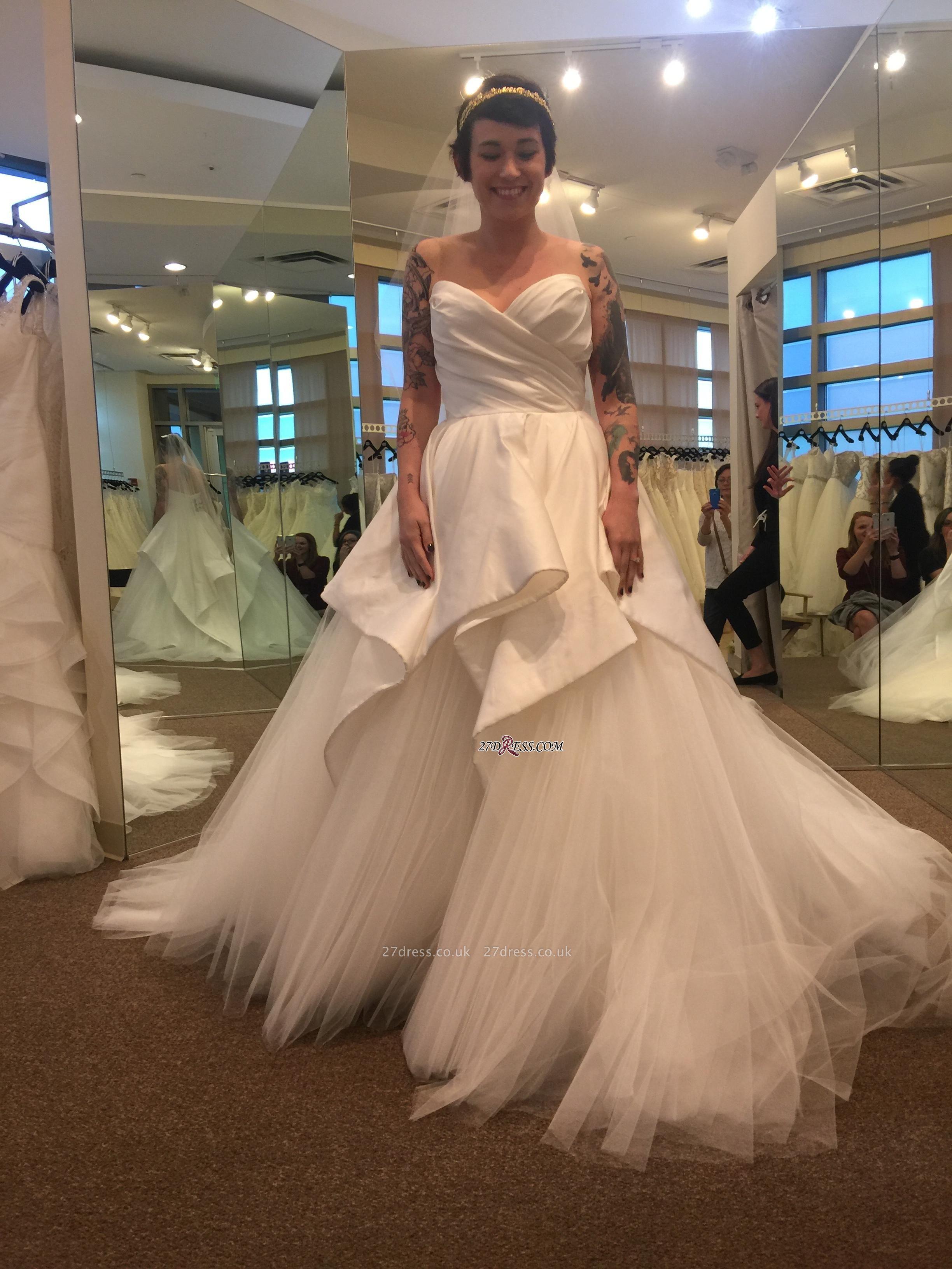 Sweetheart Tulle Wedding Dress Long With Ruffles