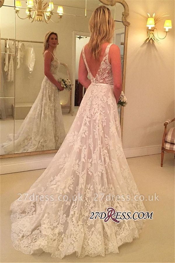 A-line Buttons Sleeveless V-Neck Lace Appliques Wedding Dress BA9433
