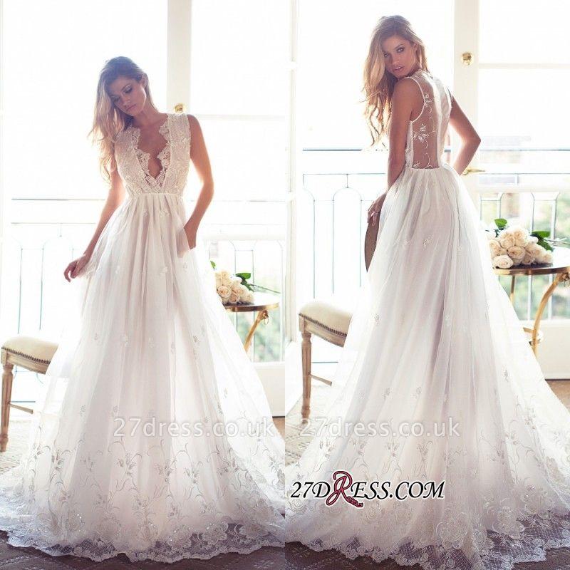 Gorgeous Princess Sleeveless Lace Appliques A-Line V-Neck Wedding Dress