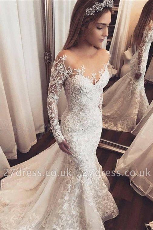 Elegant Long Sleeve Wedding Dress   Lace Appliques Wedding Dress On Sale