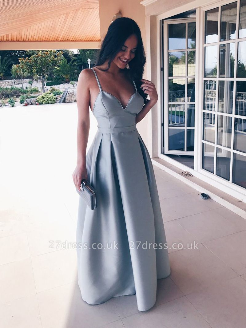 Sexy Spagheeti Strap Long Evening Dress UK Sweetheart Party Gowns