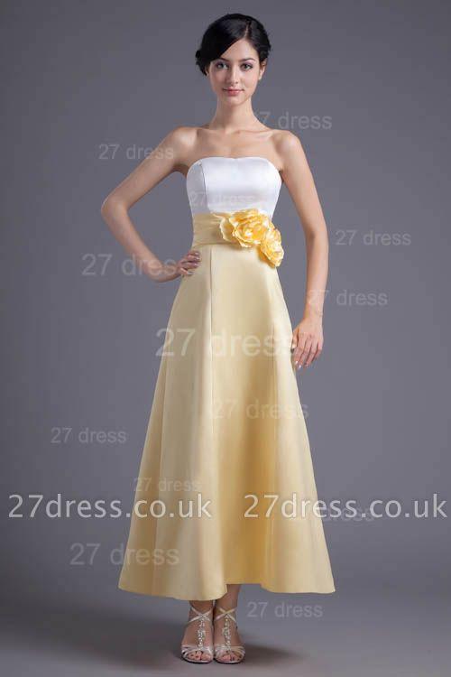 Elegant Strapless A-line Flowers Evening Dress UK Sleeveless Zipper