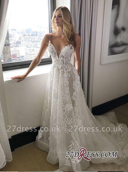 Gorgeous Spaghetti Straps Lace Wedding Dress Long On Sale