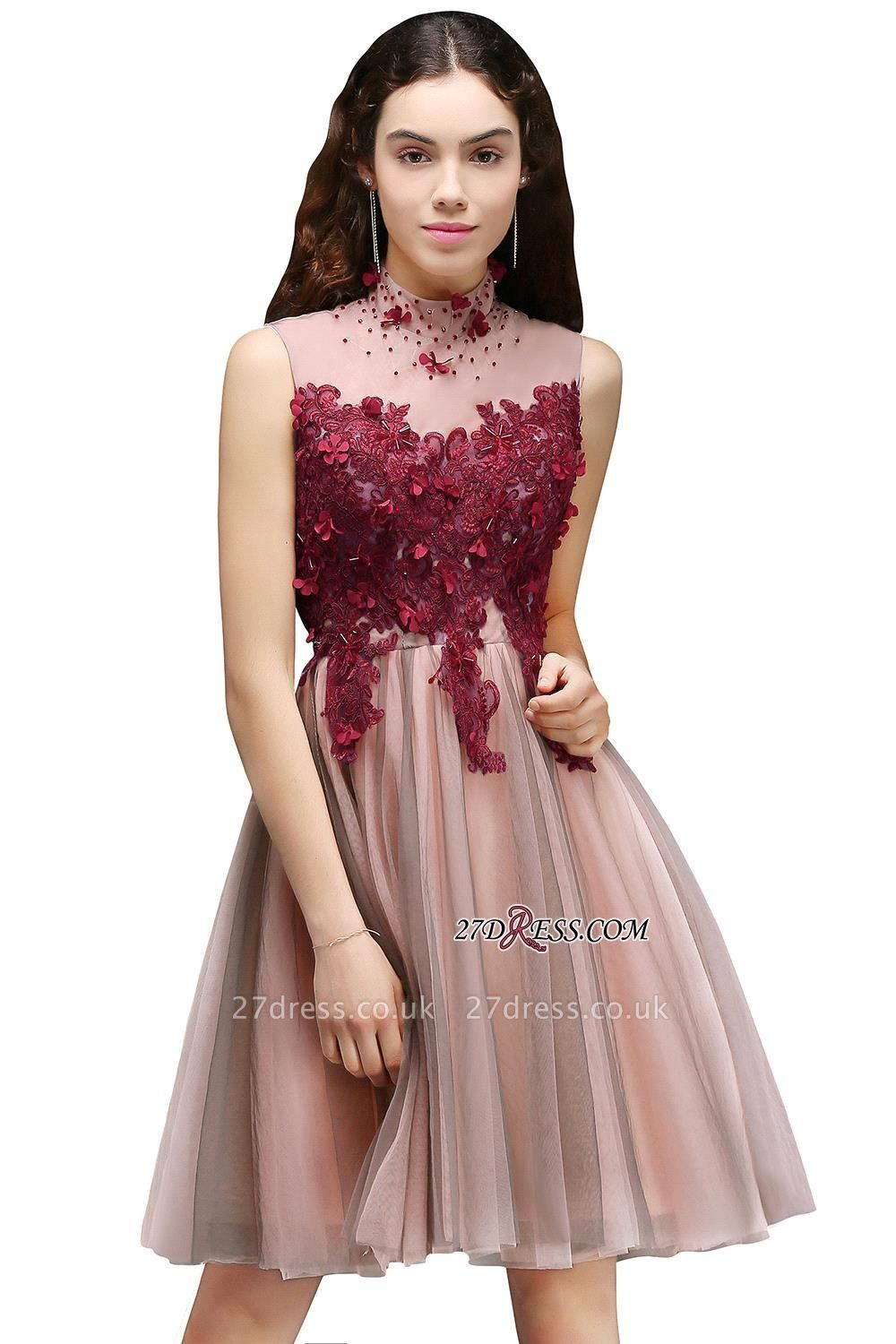 Burgundy-Flowers Hollow-Back High-Neck Tulle Sexy Homecoming Dress UKes UK