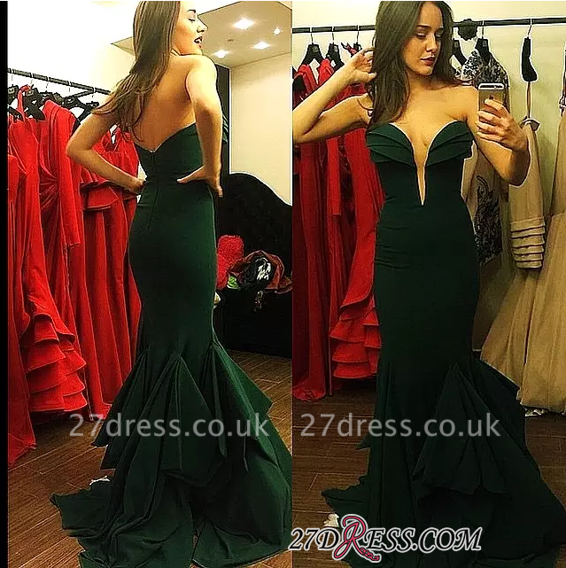 Long Mermaid Emerald-Green Sweetheart-Neck Ruffles-Skirt Elegant Prom Dress UKes UK