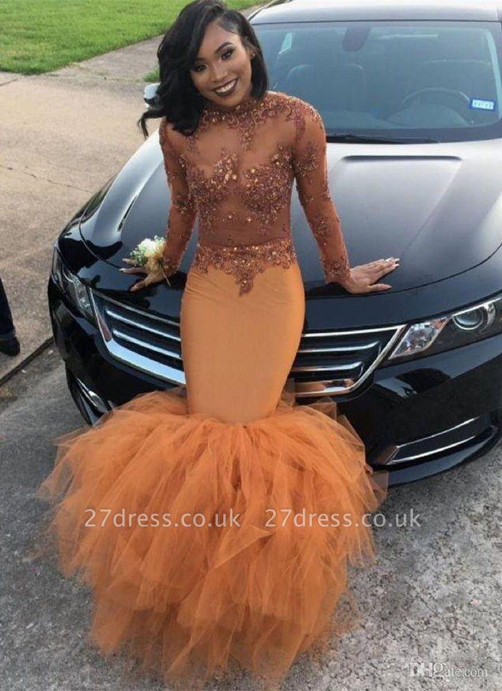Modest Lace Appliques Mermaid Long Sleeve   Prom Dress UK BA8084 BK0