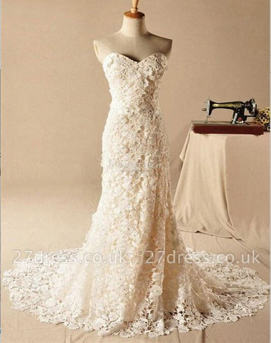 Gorgeous Sweetheart Lace Appliques Wedding Dresses UK Long