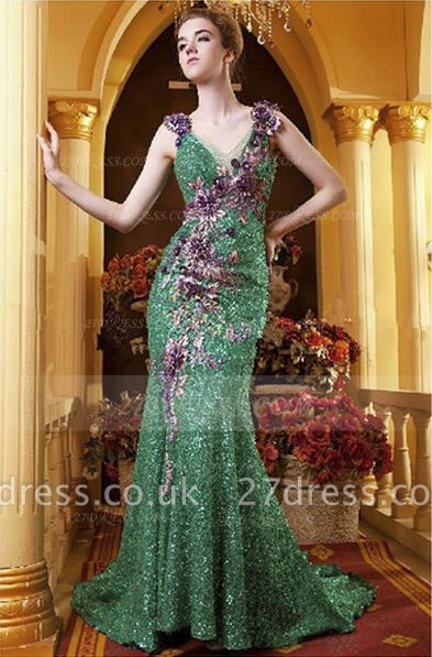 Sequined Sleeveless Mermaid Prom Dress UKes UK Vintage Gowns Straps Green Flower Embroidery Sweep Train Bowknot Evening