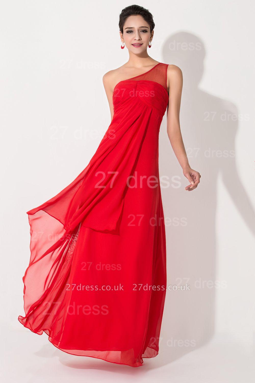 Chiffon Red One Shoulder Evening Dress UK A-line Floor-length