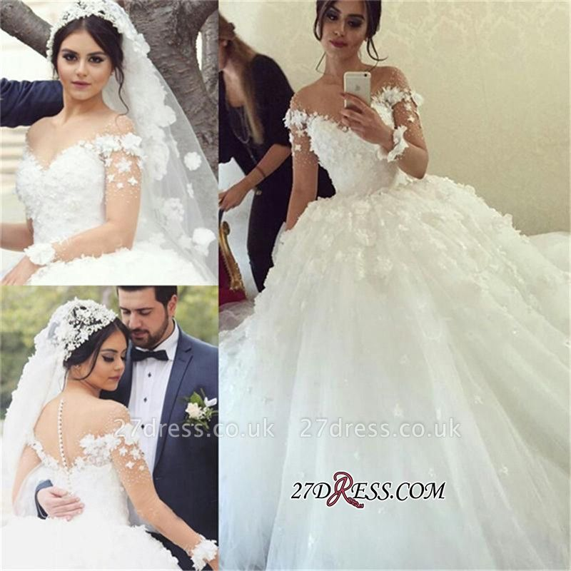 Long-Sleeves Unique Appliques Ball-Gown Wedding Dress