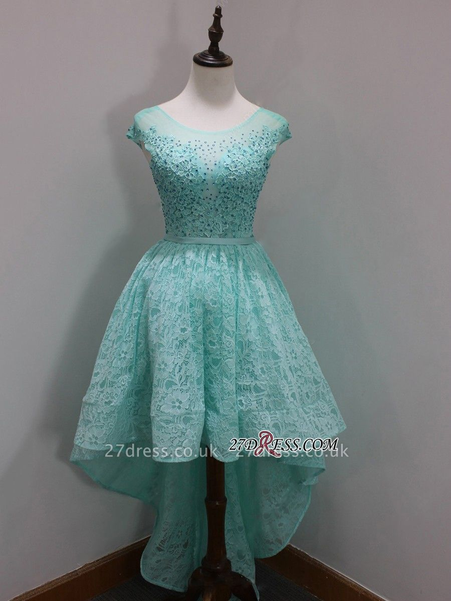 Dress UKes UK Scoop Sleeves Cap Sequins Newest A-Line Lace High-Low Homecoming Prom Dress UKes UK