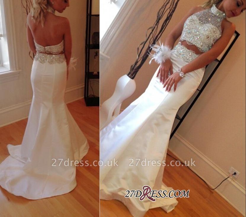 Luxury Sleeveless High-Neck Sweep-Train Mermaid Zipper Crystals Two-Piece Prom Dress UK