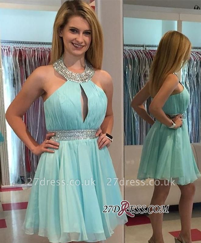 Ruffles Summer Halter Sleeveless Beading Chiffon Mini Homecoming Dress UKes UK