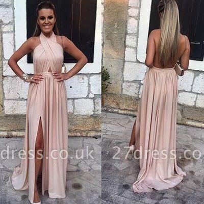 A-line Sleeveless Newest Backless Split-front Elegant Evening Dress UK BA4745