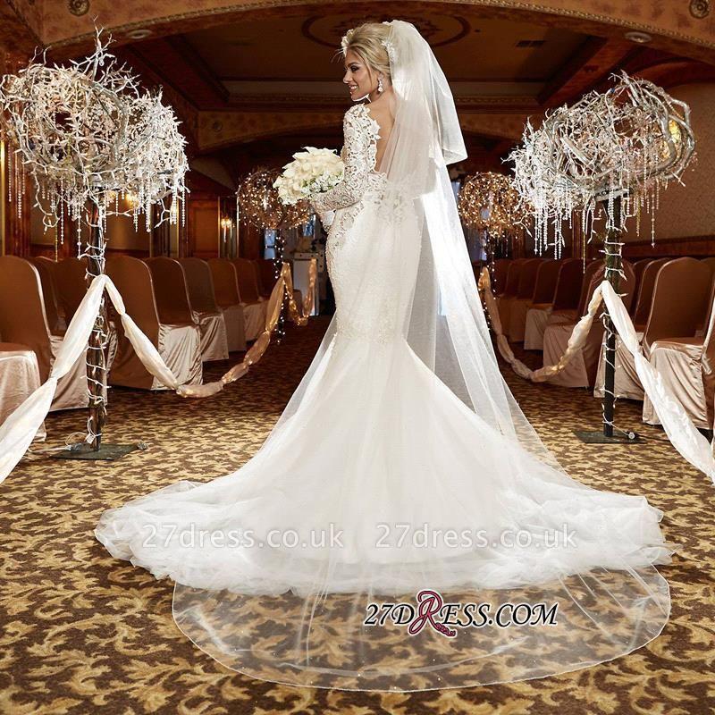 lace Sexy Mermaid Zipper Long-Sleeve Gorgeous Wedding Dress