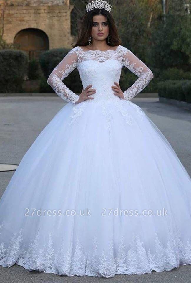 Modern Long Sleeve Lace Wedding Dresses UK Tulle Ball Gown