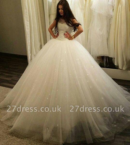 Stunning Sleeveless Tulle Princess Wedding Dress Sequins Ball Gown