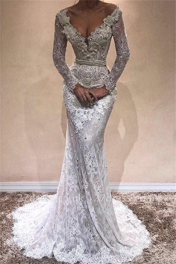 Elegant Sexy Mermaid Long Sleeves Wedding Dresses UK Lace  V-Neck Crystal Evening Dress