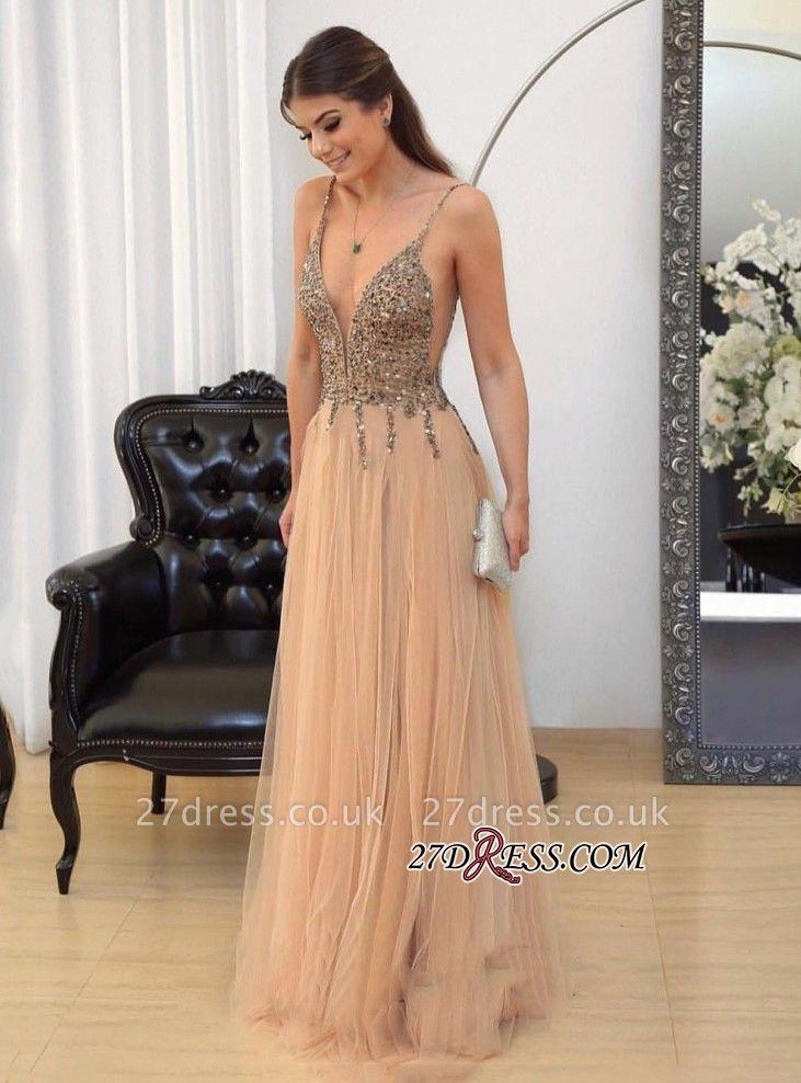 Tulle v-neck long prom Dress UK,evening Dress UK with beads