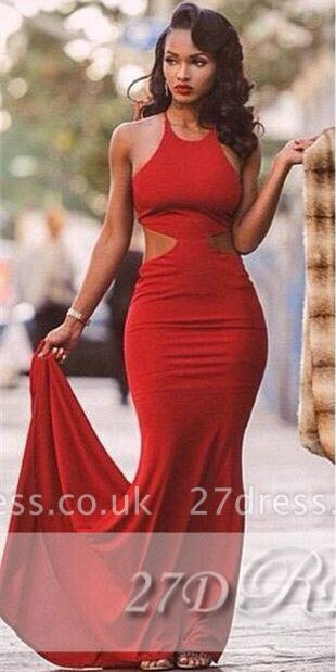 Red Backless Mermaid Prom Dress UKes UK Halter Neck Court Train  Evening Gowns BK0