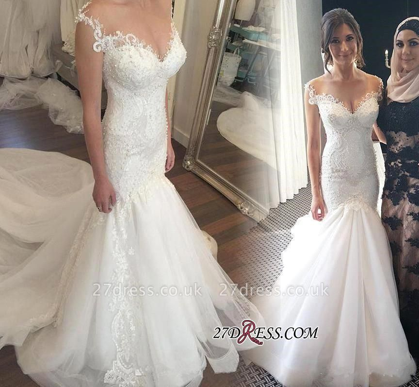 Zipper Fashion Sexy Mermaid Button Tulle Beadss Sexy Mermaid Lace Sweetheart Wedding Dress